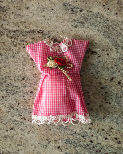 Cranberry Garland <br /> Pink Gingham Dress Sachet
