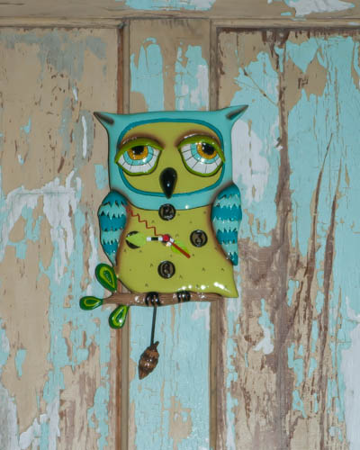 Sleepy Blue Owl <br /> Allen Design Clock