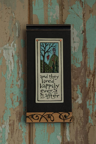 &quot;Happily Ever After&quot;-Black <br /> Wood Key Holder